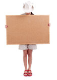 Tourist woman in hat keeping cork board Stock Photography