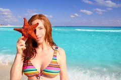 Tourist woman hold starfish tropical beach Stock Image