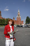 Tourist woman in Moscow Kremlin Royalty Free Stock Photography