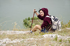 Tourist woman in mountains Royalty Free Stock Images