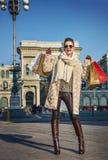 Tourist woman near Galleria Vittorio Emanuele II rejoicing Stock Image