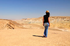 Tourist woman in the Negev desert. Royalty Free Stock Photos