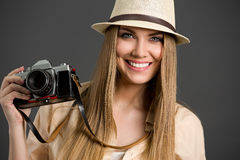 Tourist woman photographing Royalty Free Stock Image