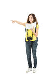 Tourist woman showing direction Stock Image