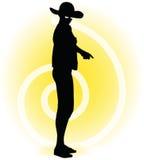 Tourist woman silhouette with handbag and sunglasses Stock Photography