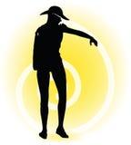 Tourist woman silhouette with handbag and sunglasses Stock Image