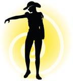 Tourist woman silhouette with handbag and sunglasses Stock Photo