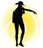 Tourist woman silhouette with handbag and sunglasses Royalty Free Stock Photos