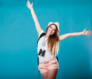 Tourist woman spreading hands with joy, Stock Photos
