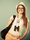 Tourist woman in summer hat portrait Royalty Free Stock Images