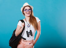 Tourist woman in summer hat portrait Stock Photo