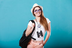 Tourist woman in summer hat portrait Royalty Free Stock Photo
