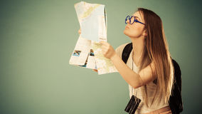 Tourist woman sunglasses read map Royalty Free Stock Image