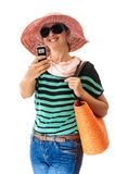 Tourist woman taking photo cell phone Royalty Free Stock Photo
