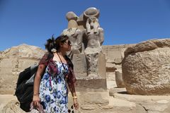Tourist woman at temple - Egypt Royalty Free Stock Image