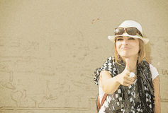 Tourist woman with thumb up sketch Royalty Free Stock Photography