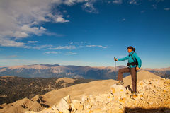 Tourist woman on the top of mount, Stock Image
