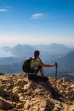 Tourist woman on the top of mount, Royalty Free Stock Image