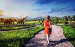 Tourist Woman Topiary Garden Royalty Free Stock Images
