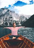Travel on Braies Lake Lago Di Braies in Dolomites, Italy, Europe royalty free stock image