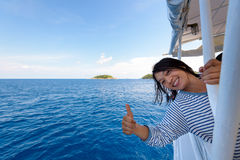 Tourist woman traveling by boat Stock Photos