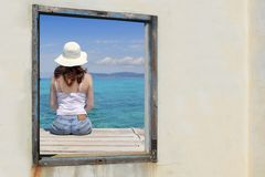 Tourist woman view window tropical sea turquoise Stock Photography