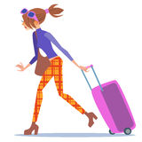 Tourist woman walking with a suitcase journey Stock Photos