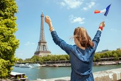 Free Tourist Woman With France Flag Rejoicing In Paris, France Royalty Free Stock Image - 143622766