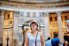 Tourist women in Pantheon Stock Photo