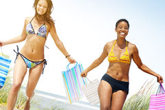 Tourist Women Shopping Summer Beach Concept.  Royalty Free Stock Photos
