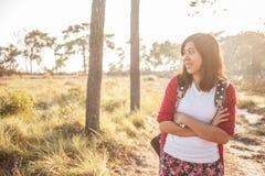 Tourist women walk in National Park Stock Photography