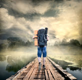 Tourist on the wooden bridge Royalty Free Stock Photos