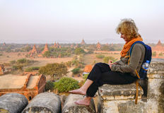 Tourist writes the itinerary in Bagan, Myanmar Royalty Free Stock Photography
