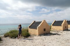 Tourist at Yellow Slave Huts - Bonaire Stock Photos