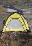 Tourist yellow tent Stock Photo
