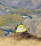 Tourist yellow tent Royalty Free Stock Photo