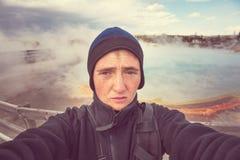 Tourist in Yellowstone Lizenzfreie Stockbilder