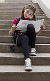 Tourist.Young girl with map Stock Images