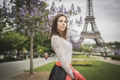 Tourist young woman at eifel tower Paris Stock Photography