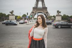 Tourist young woman at eifel tower Paris Royalty Free Stock Photography