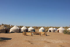 Tourist Yurt camp in the desert. Uzbekistan, Kyzyl-Kum desert Stock Images