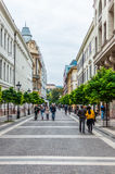 Tourist at Zrinyi St. in Budapest Royalty Free Stock Images