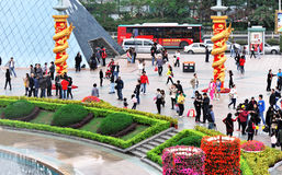 Touriste à l'hublot de shenzhen du monde Photographie stock