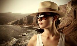 Touriste à la mer Photographie stock