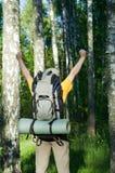Touriste au bois Image stock