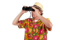 Touriste avec binoche Images libres de droits