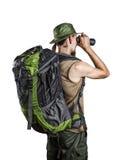 Touriste avec binoculaire d'isolement sur le blanc Images stock