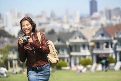 Touriste carré d'Alamo San Francisco Photos stock