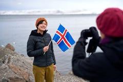 Touriste d'hiver de l'Islande Photographie stock libre de droits