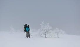 Touriste dans le Russe Laponie, Kola Peninsula Images stock